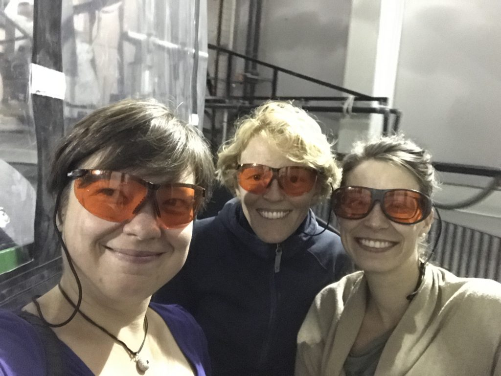 Safety first! Fancy goggles protecting Mirjam, Elin and Nadine's eyes from the lasers