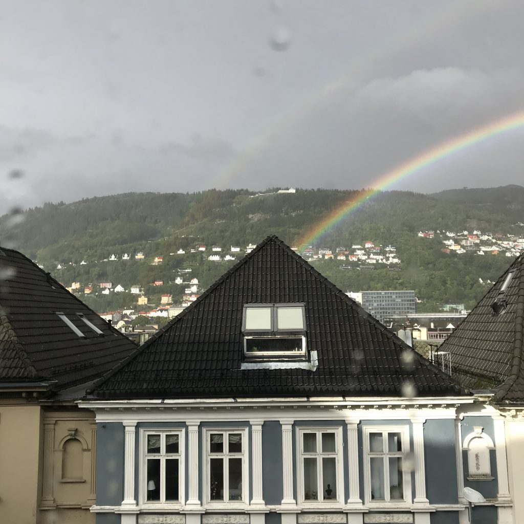 "Bergen, Norway: primary and secondary rainbow on August 17, 2018. Note the ""Alexander's band"", the dark space between the two rainbows!"