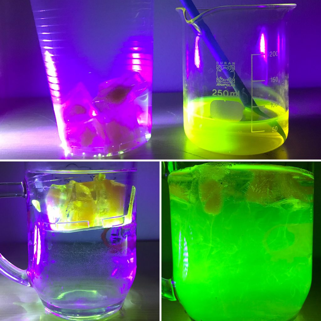 Top pic: Ice cubes (left) and leftover uranine solution from when I was preparing those ice cubes Bottom left pic: Melting the ice cubes in a water bath to see if they start glowing again when melting. Bottom right pic: Yes, they do! :-)