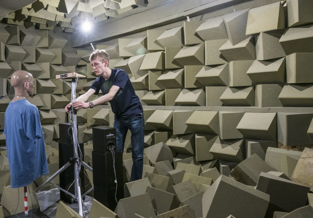 Dan inside an anechoic chamber. Photo credit: Dan Wallace