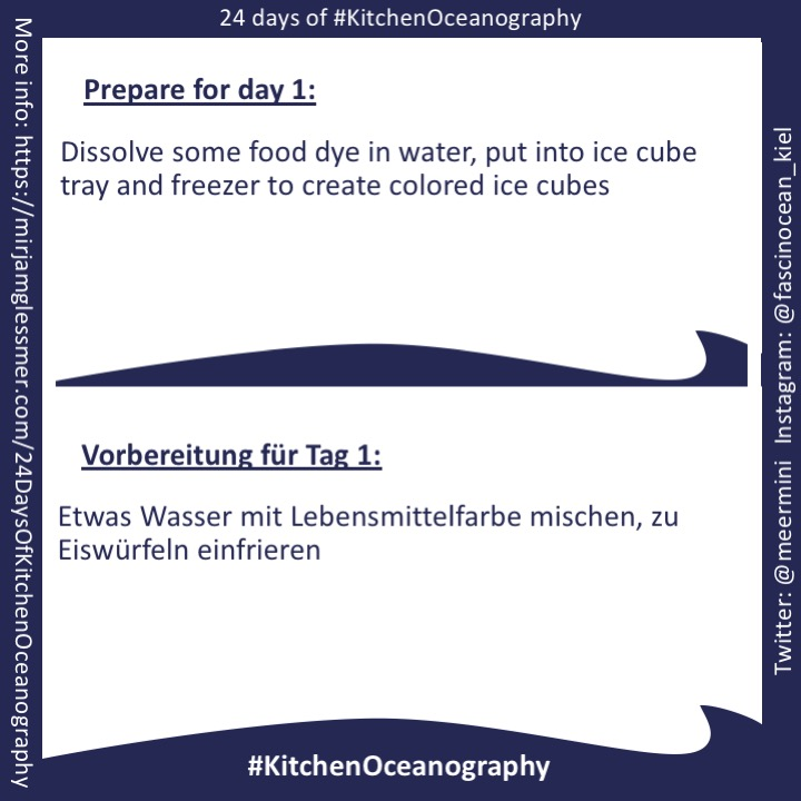 "[graphic] Instructions for preparations for day 1 of ""24 days of #KitchenOceanography"": Dissolve some food dye in water, put into ice cube tray and freezer to create colored ice cubes"