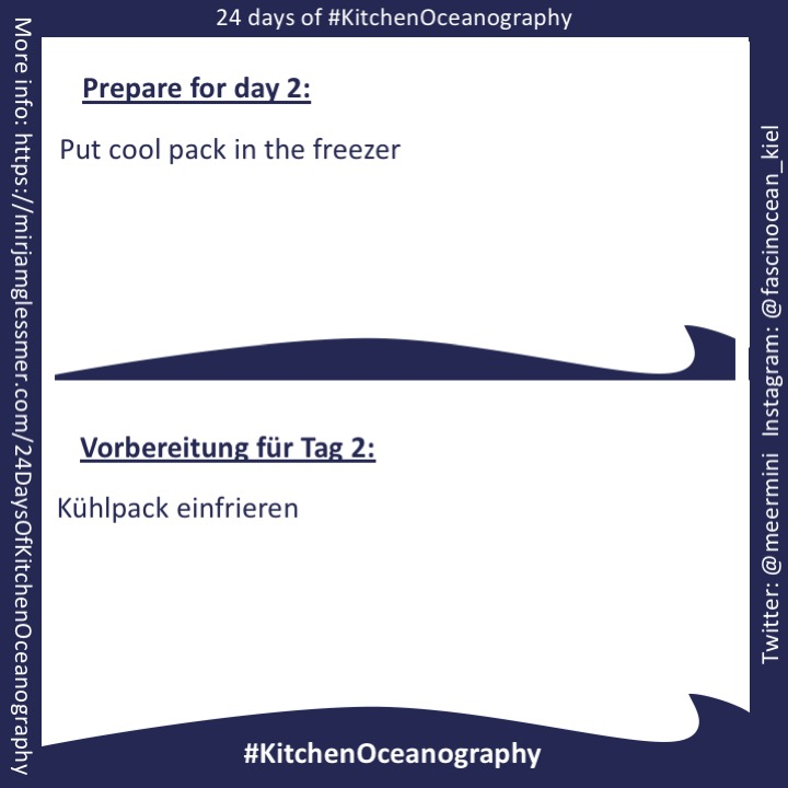 [graphic] Instructions for prepratations for day 2: put coolpack in freezer