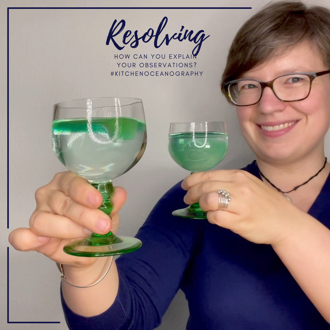 "Mirjam @meermini holding two wine glasses, filled with green ice cubes melting in water, towards the camera. Text says ""Resolving! How can you explain your observations?"""